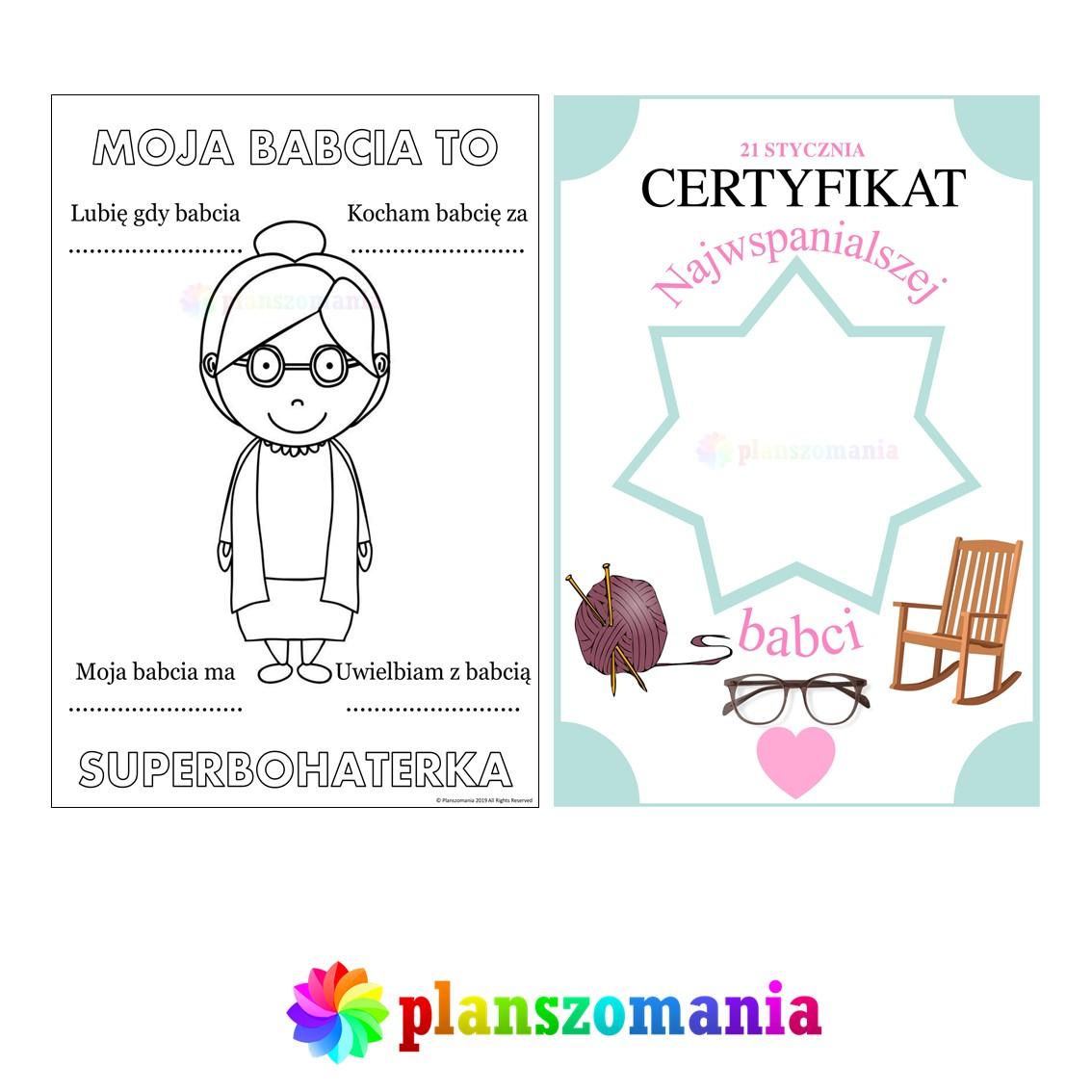 Dzień Babci i Dziadka plansze edukacyjne planszomania pdf do druku za darmo pobierz