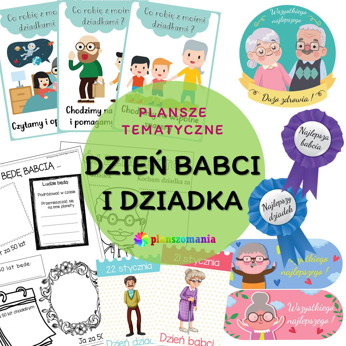 Dzień Babci i Dziadka plansze edukacyjne planszomania pdf do druku za darmo