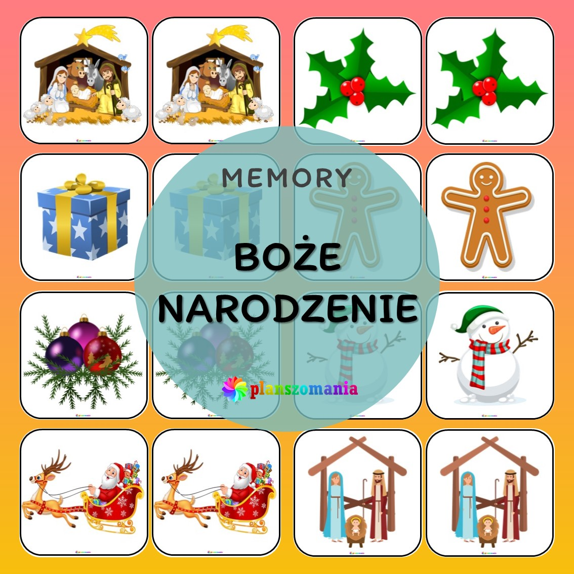 memory Boże Narodzenie układanka edukacyjna ćwiczenie na pamięć planszomania edukacja dzieci pdf do druku