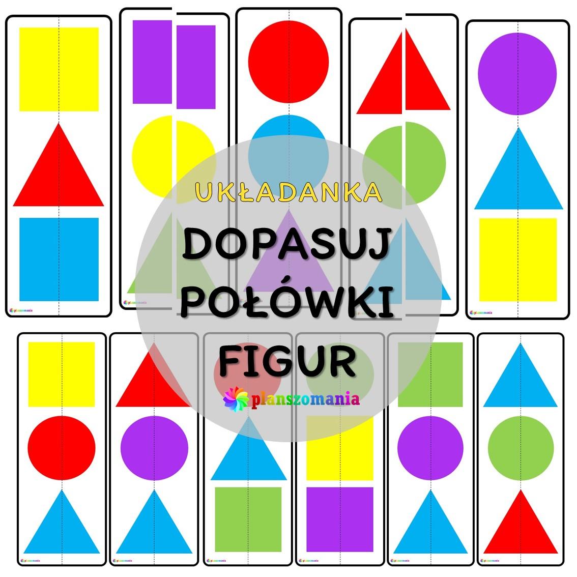 układanka edukacyjna planszomania do druku pdf pomoce edukacyjne materiały dydaktyczne dopasuj połówki figur