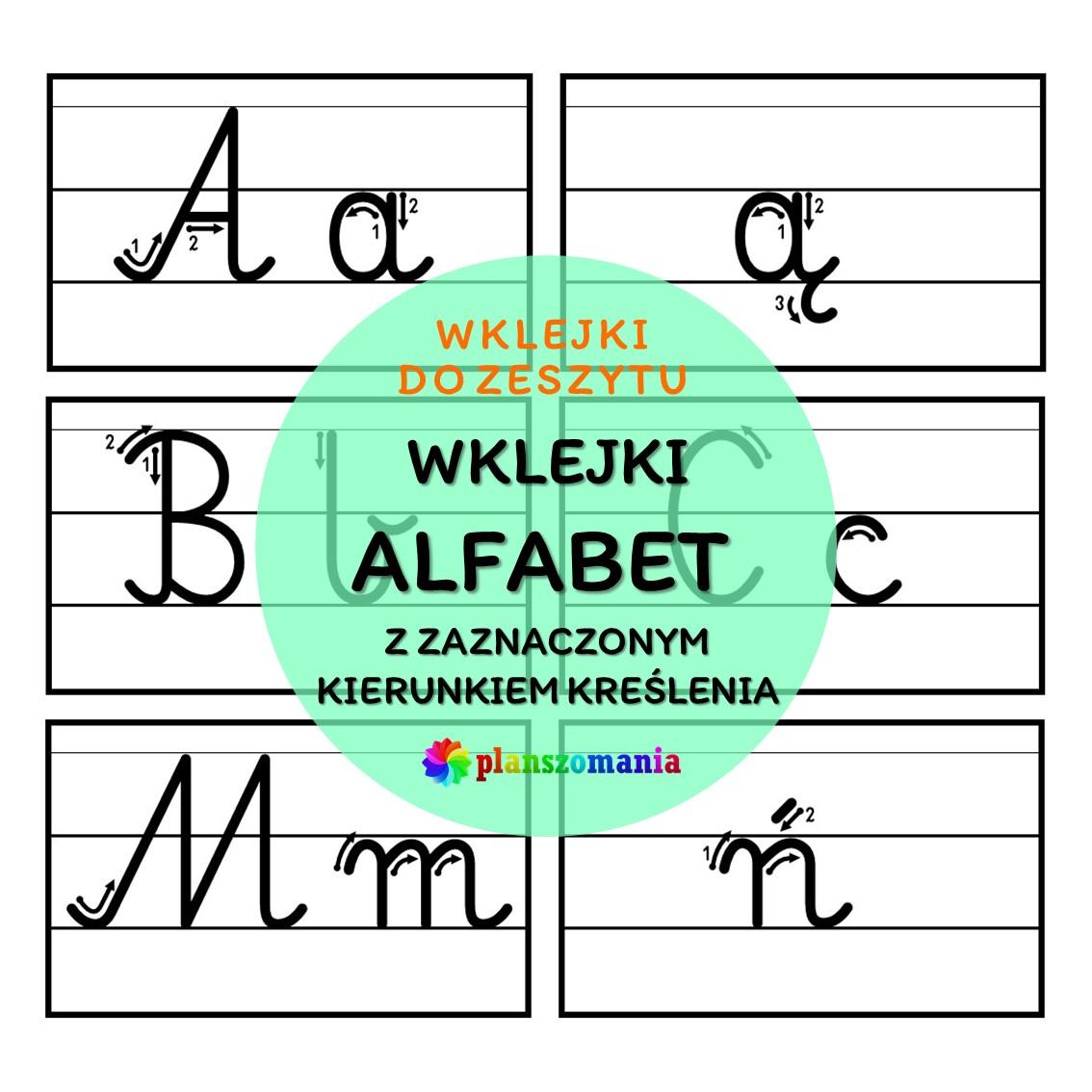 wklejki do zeszytu wklejki do pierwszej klasy pdf alfabet ze strzałkami