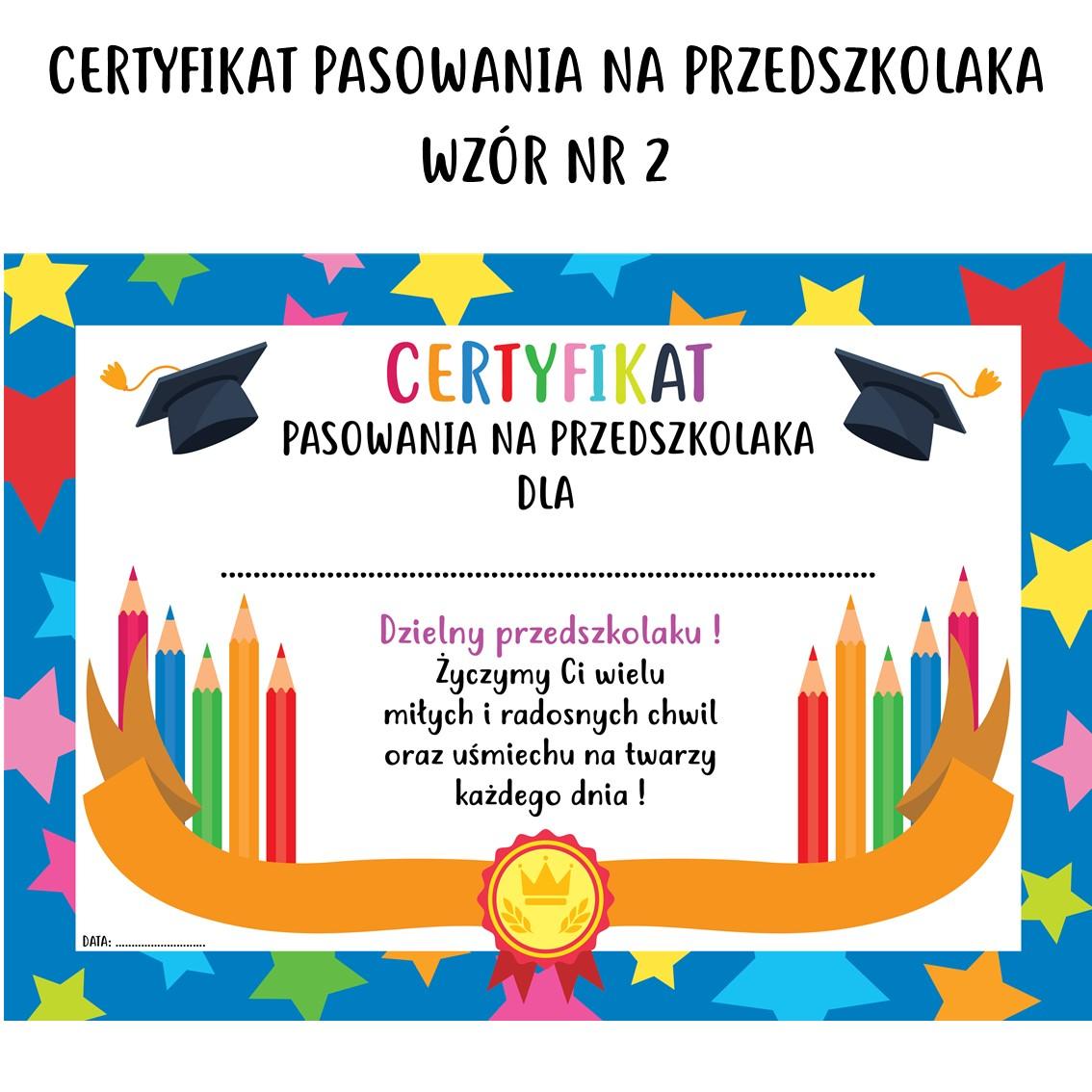 certyfikat pasowania na przedszkolaka wzór nr 2