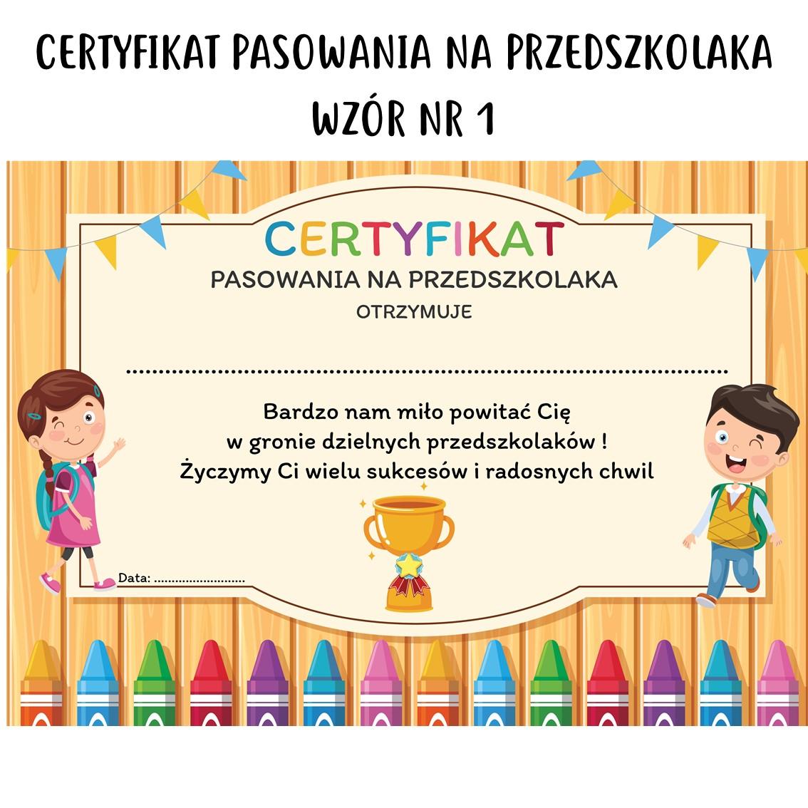certyfikat pasowania na przedszkolaka