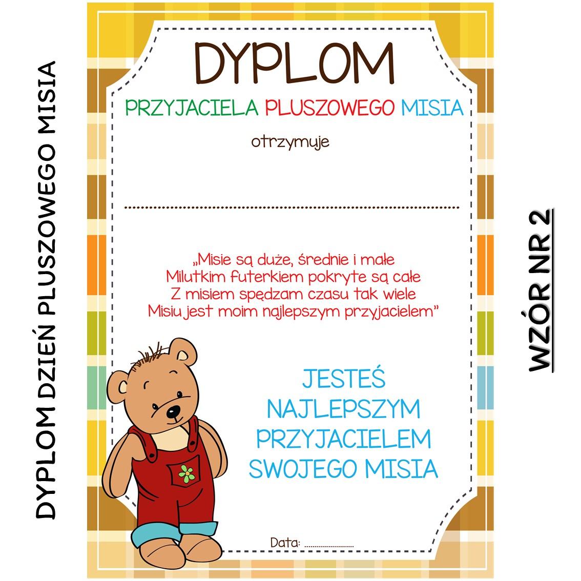DZIEŃ PLUSZOWEGO MISIA dyplom do druku pdf przedszkole klasa 1 szkoła edukacja wczesnoszkolna pomysły scenariusz planszomania do druku