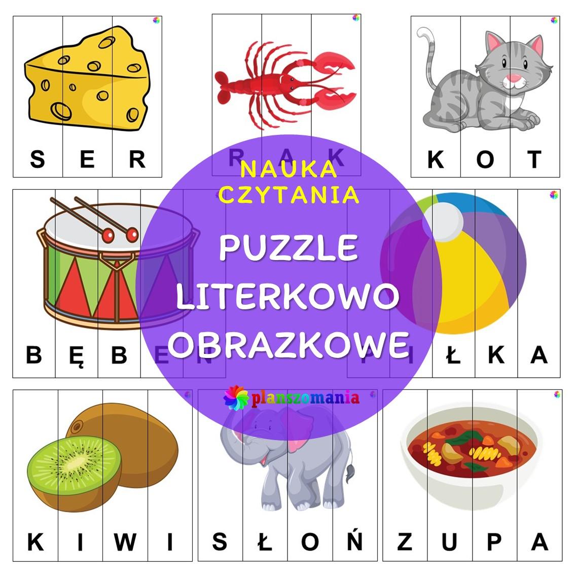 puzzle literkowo obrazkowe do rozcięcia przedszkole szkoła podstawowa edukacja wczesnoszkolna do pobrania pdf za darmo
