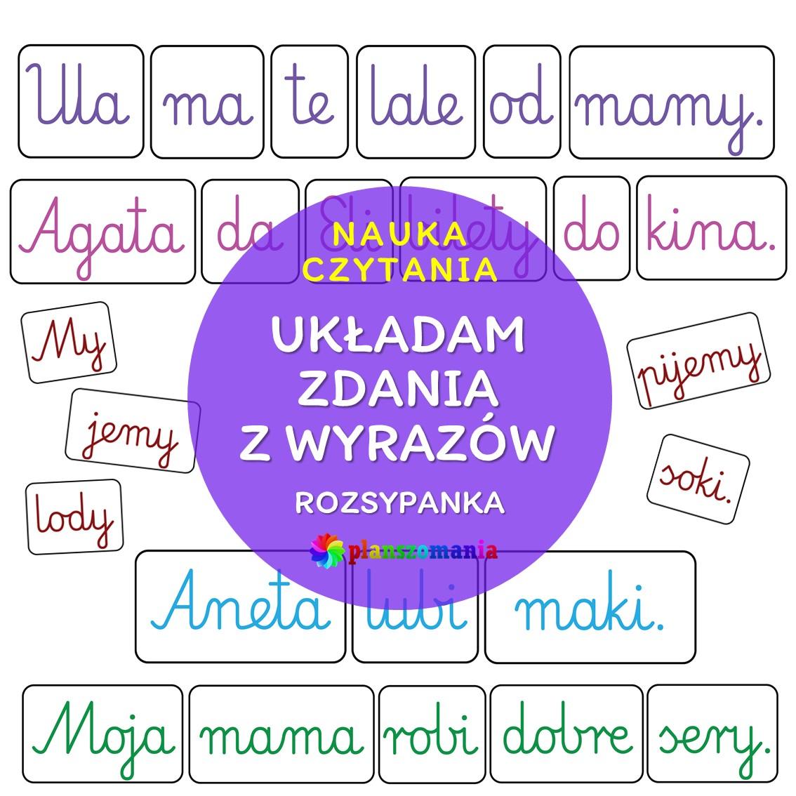 rozsypanka wyrazowa układam zdania układanka wyrazowa planszomania edukacja polska szkoła przedszkole edukacja czesnoszkolna pdf za darmo