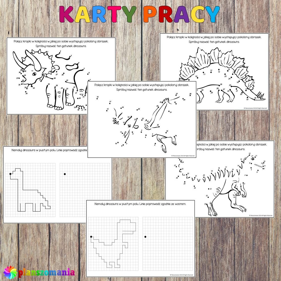 Dinozaury pakiet pomocy edukacyjnych świat odkrywców pdf do pobrania scenariusz zajęć kolorowanki karty pracy