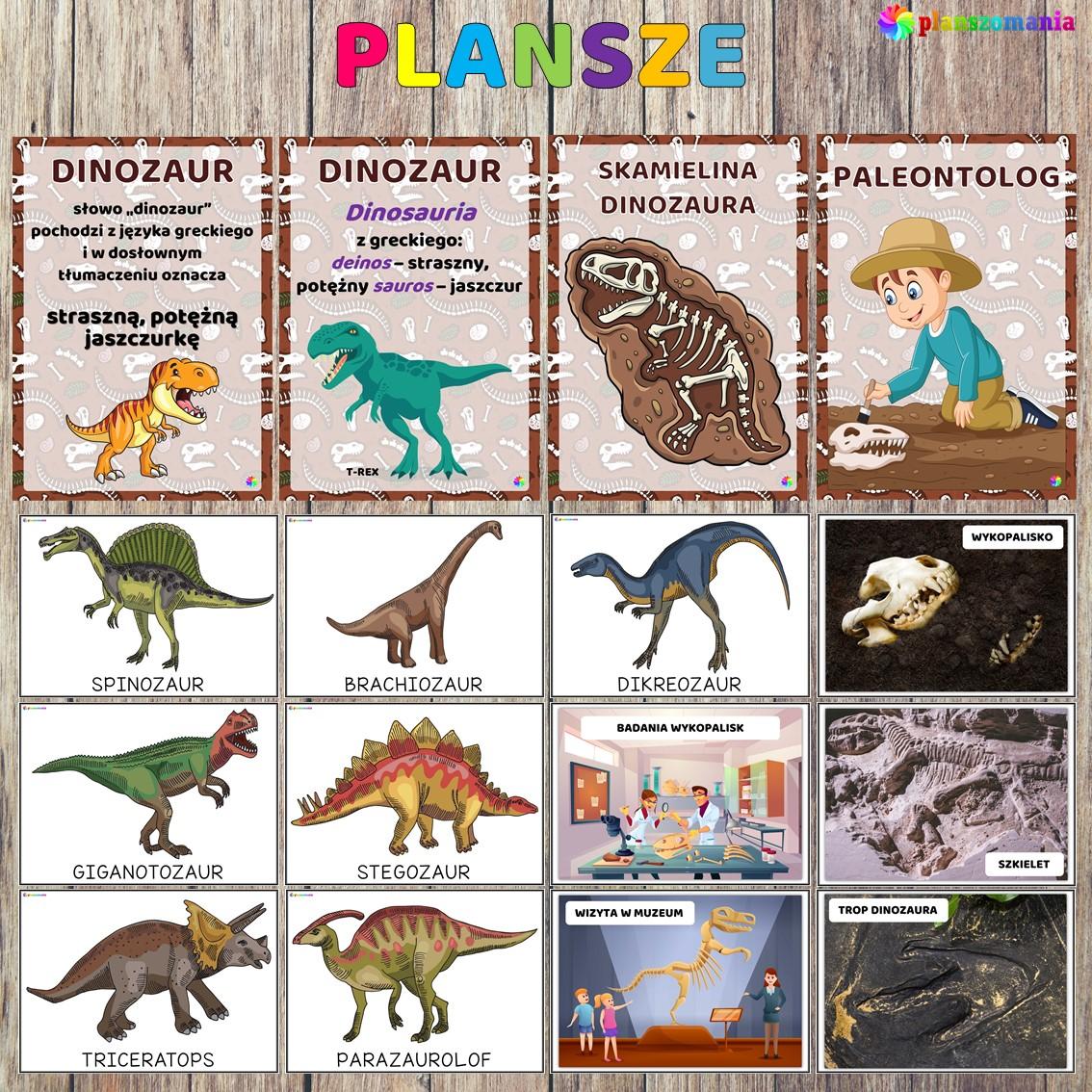 Dinozaury pakiet pomocy edukacyjnych świat odkrywców pdf do pobrania scenariusz zajęć plansze edukacyjne planszomania
