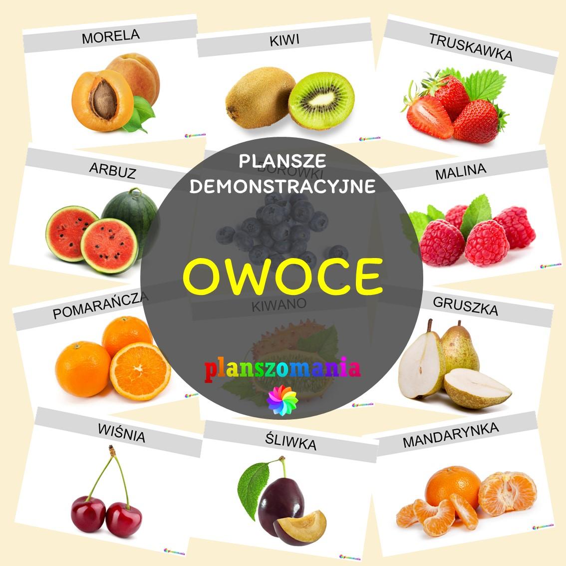 OWOCE plansze demonstracyjne planszomania do pobrania pdf dla dzieci wczesnoszkolni za darmo pomoce dydaktyczne edukacyjne