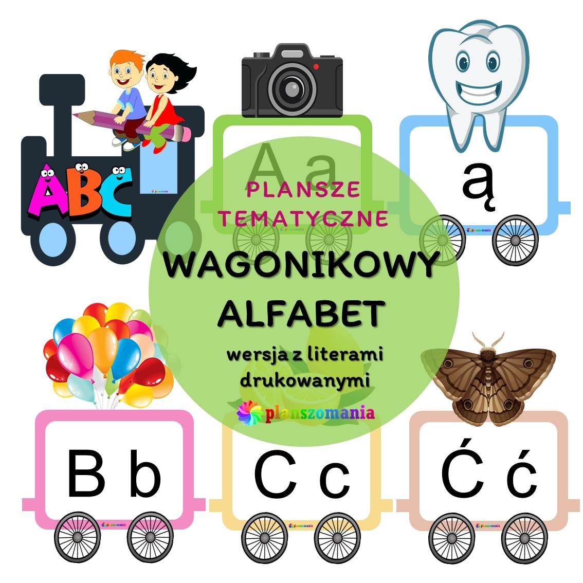 wagonikowy alafabet pociąg z literami drukowanymi monografia liter do pobrania pdf za darmo planszomania do druku dla dzieci