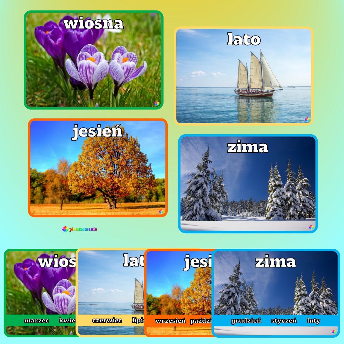 cztery pory roku edukacja wczesnoszkolna przedszkole do druku pdf zabawy i gry dla dzieci plansze edukacyjne materiały dydaktyczne jesień zima wiosna