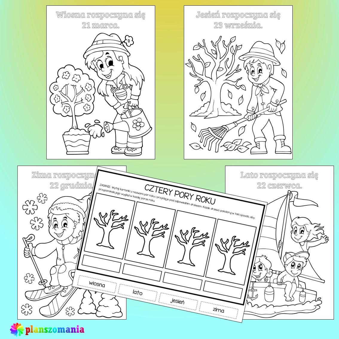 cztery pory roku edukacja wczesnoszkolna przedszkole do druku pdf zabawy i gry dla dzieci plansze edukacyjne materiały dydaktyczne karty pracy kolorowanki