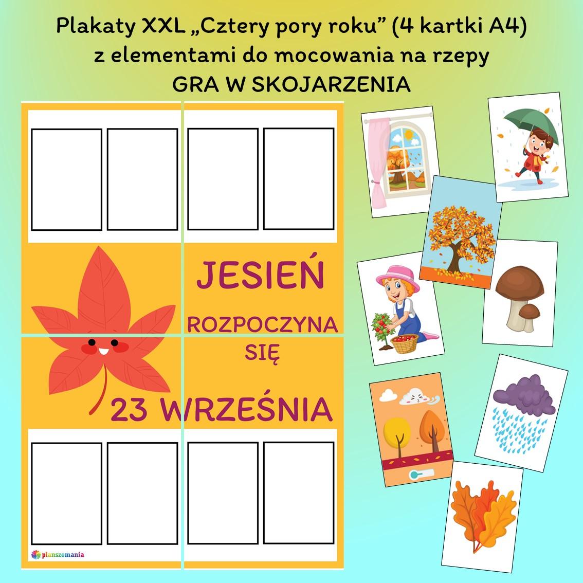 cztery pory roku edukacja wczesnoszkolna przedszkole do druku pdf zabawy i gry dla dzieci plansze edukacyjne materiały dydaktyczne mega zestawy