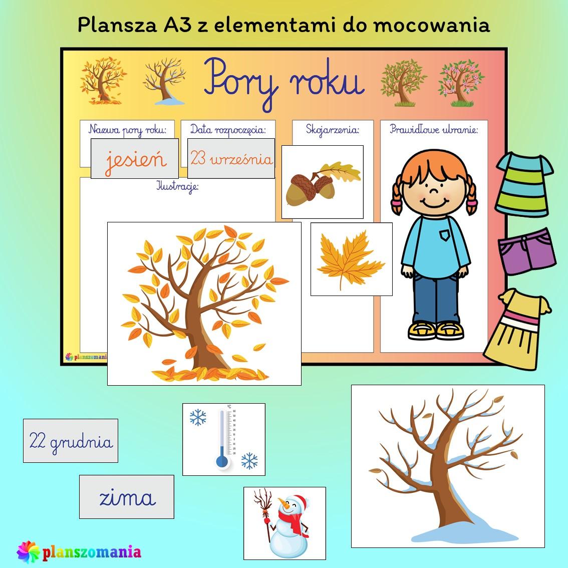 cztery pory roku edukacja wczesnoszkolna przedszkole do druku pdf zabawy i gry dla dzieci plansze edukacyjne materiały dydaktyczne scenariusze