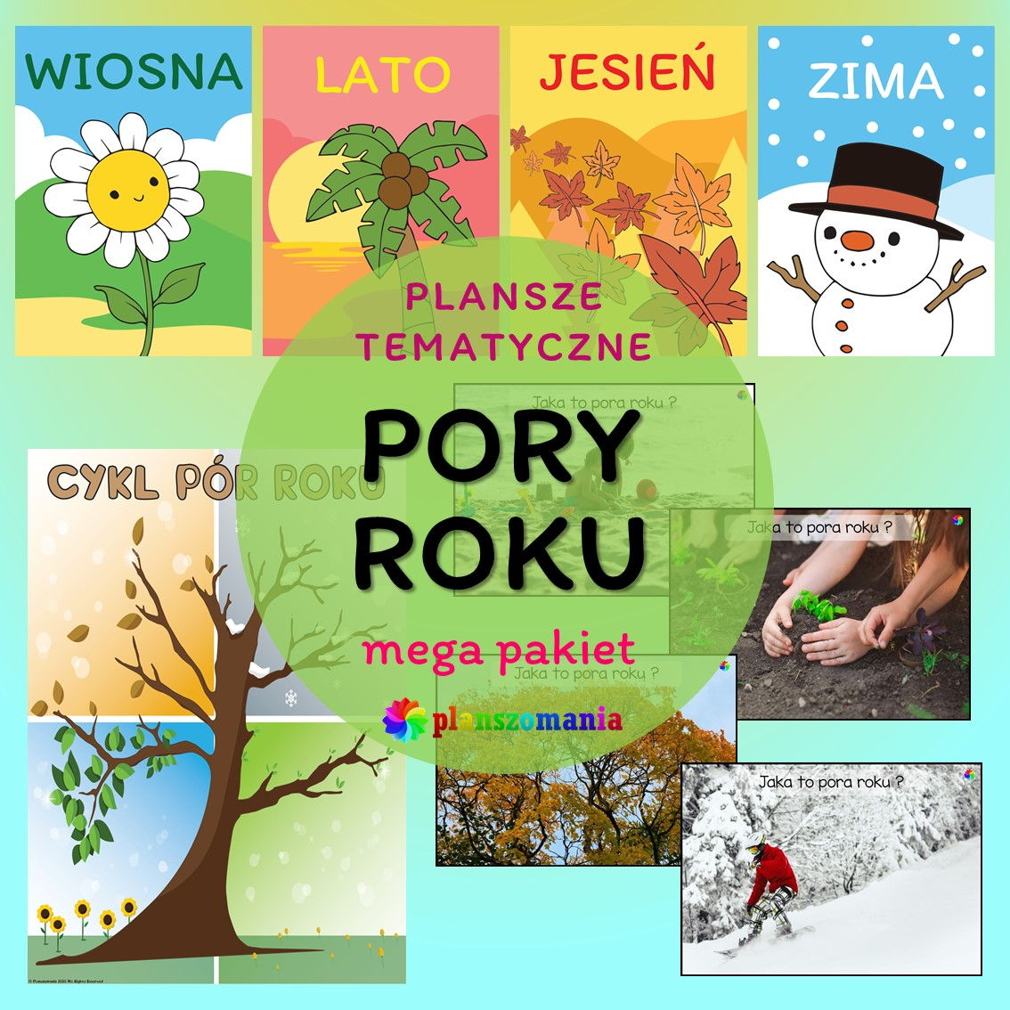 cztery pory roku edukacja wczesnoszkolna przedszkole do druku pdf zabawy i gry dla dzieci plansze edukacyjne materiały dydaktyczne
