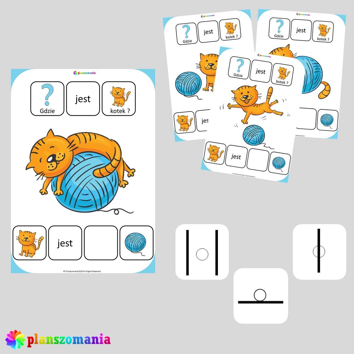 książeczka aktywności dla dzieci gdzie jest kotek przyimki miejsca orientacja w przestrzeni planszomania PDF do druku edukacja wczesnoszkolna