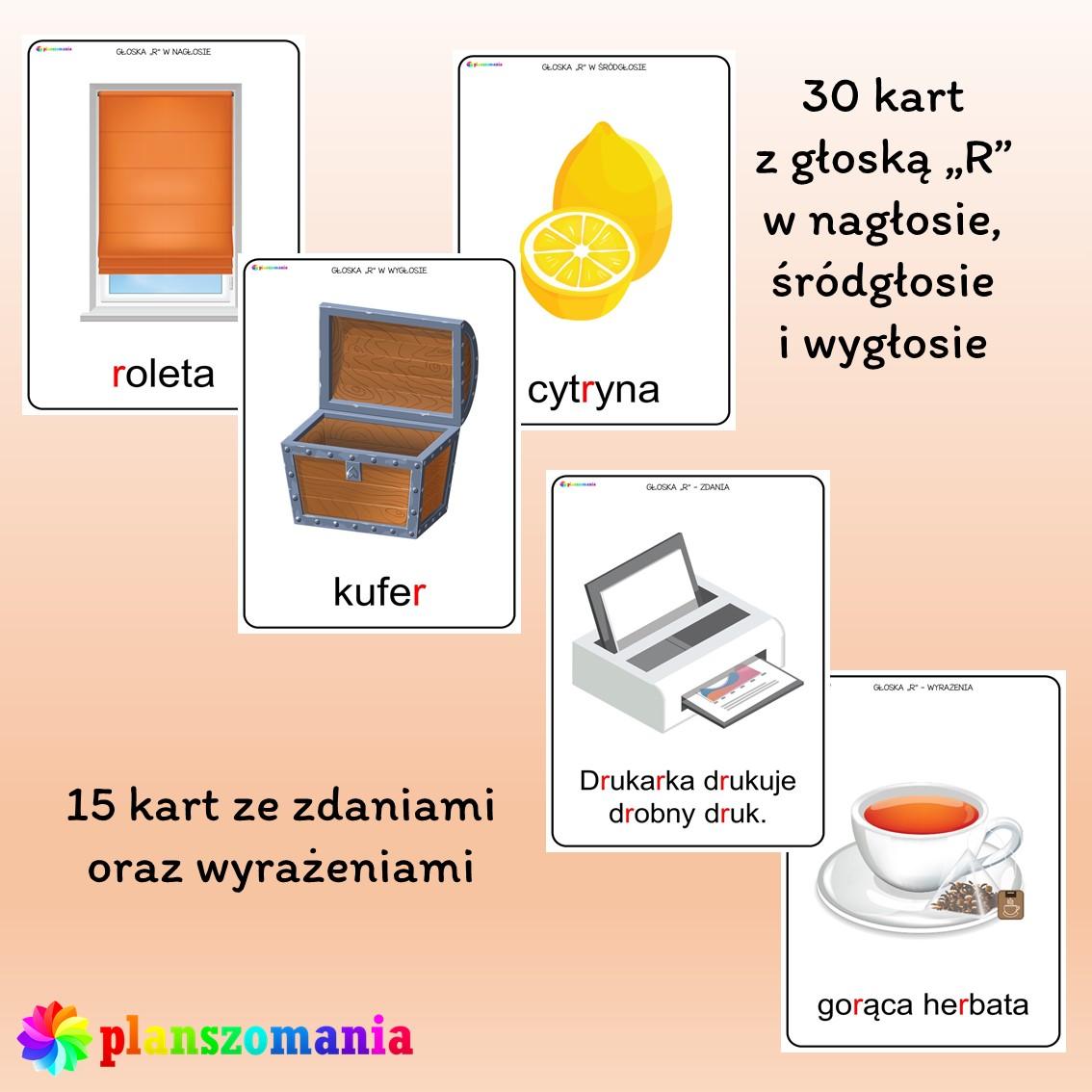 materiał oprazkowy do ćwiczeń artykulacyjnych prawidłowe wypowiadanie głoski r logopedia ćwiczenia usprawniające narządy mowy głoska planszomania