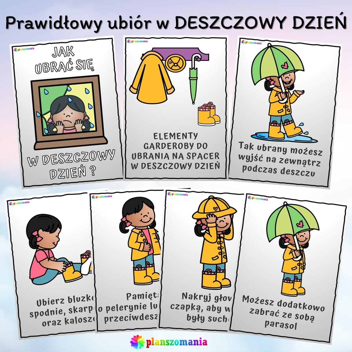 plansze edukacyjne planszomania materiały dydaktyczne dla dzieci edukacja wczesnoszkolna pogoda mega pakiet pdf do druku jak się ubrać deszcz