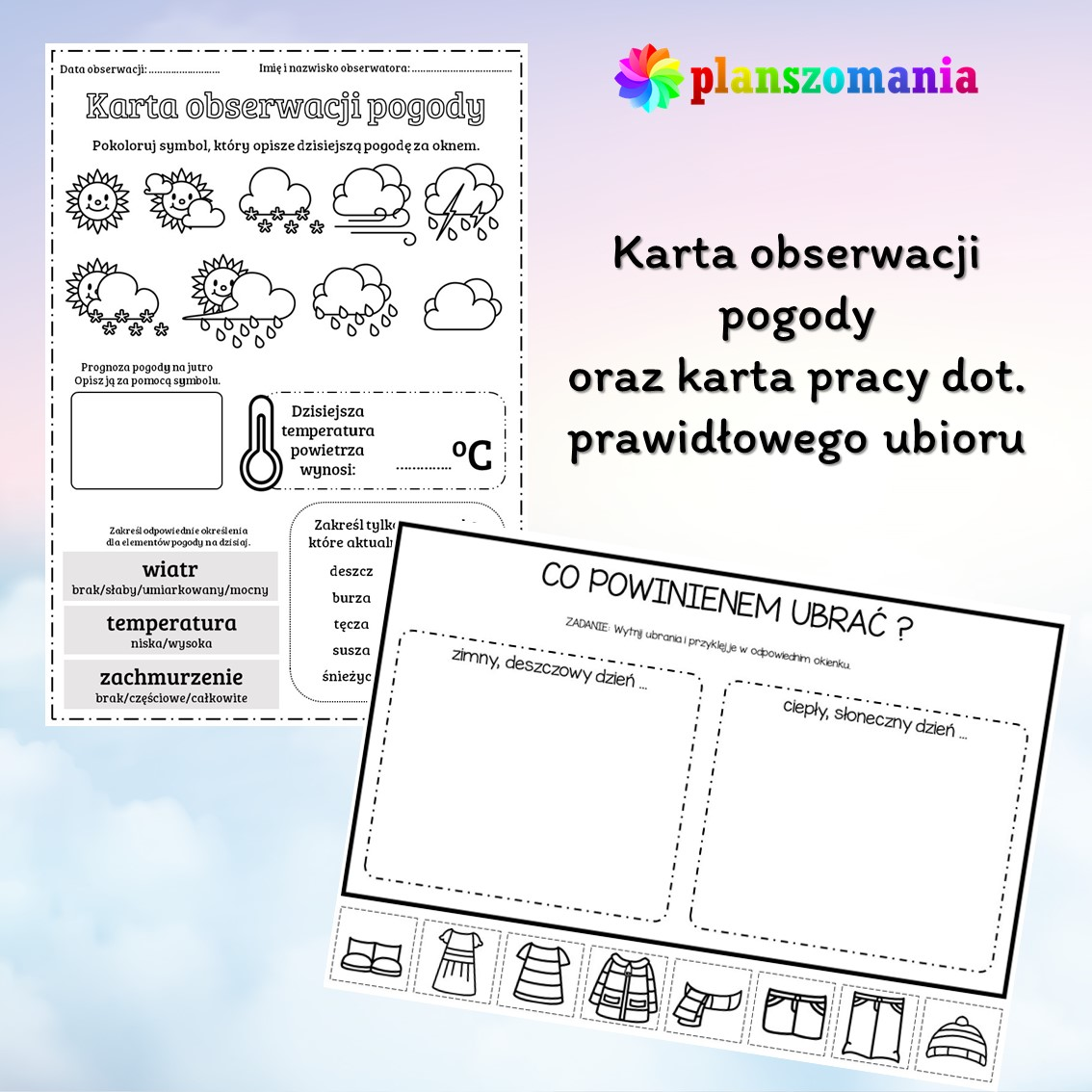 plansze edukacyjne planszomania materiały dydaktyczne dla dzieci edukacja wczesnoszkolna pogoda mega pakiet pdf do druku karty pracy