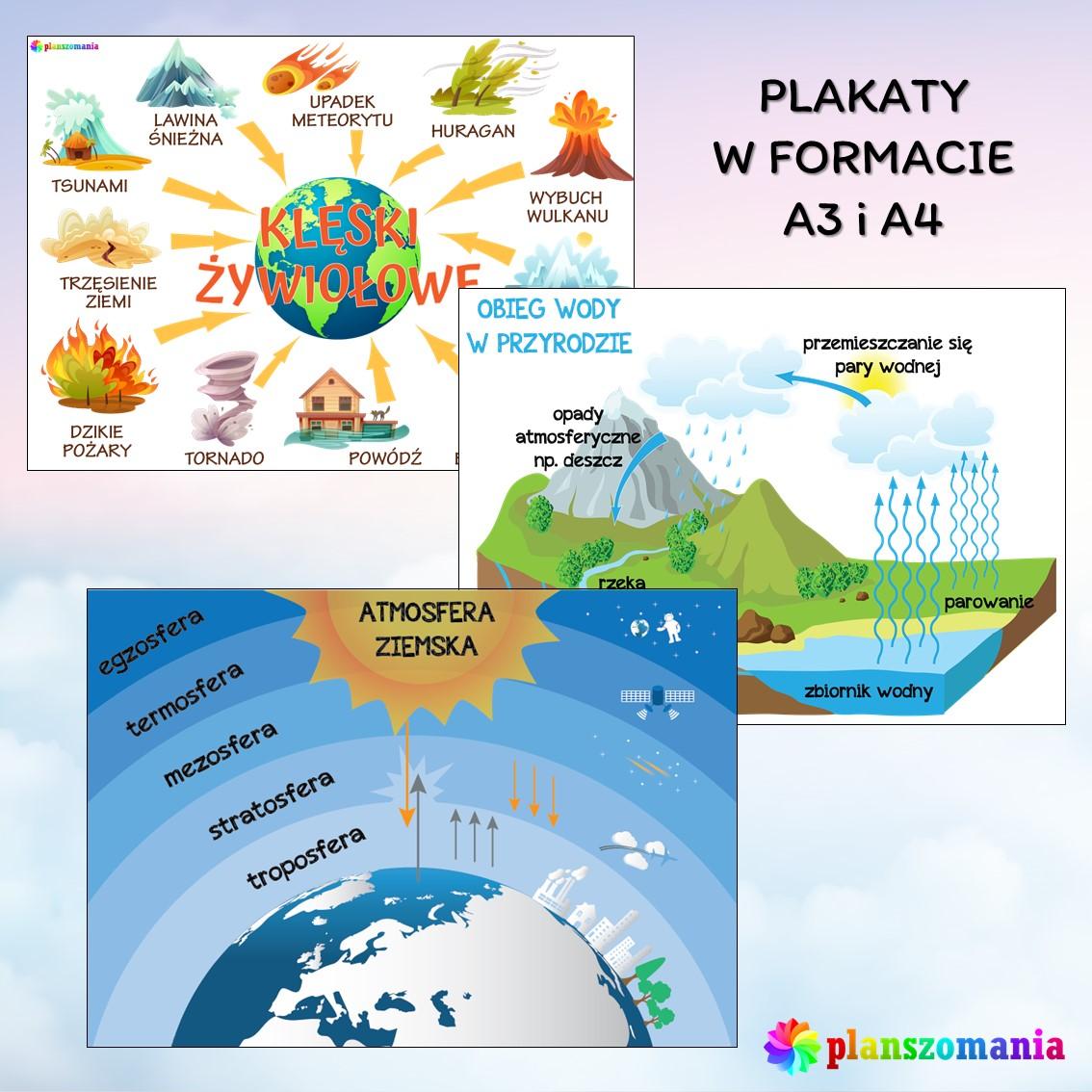 plansze edukacyjne planszomania materiały dydaktyczne dla dzieci edukacja wczesnoszkolna pogoda mega pakiet pdf do druku plakaty A4 A4