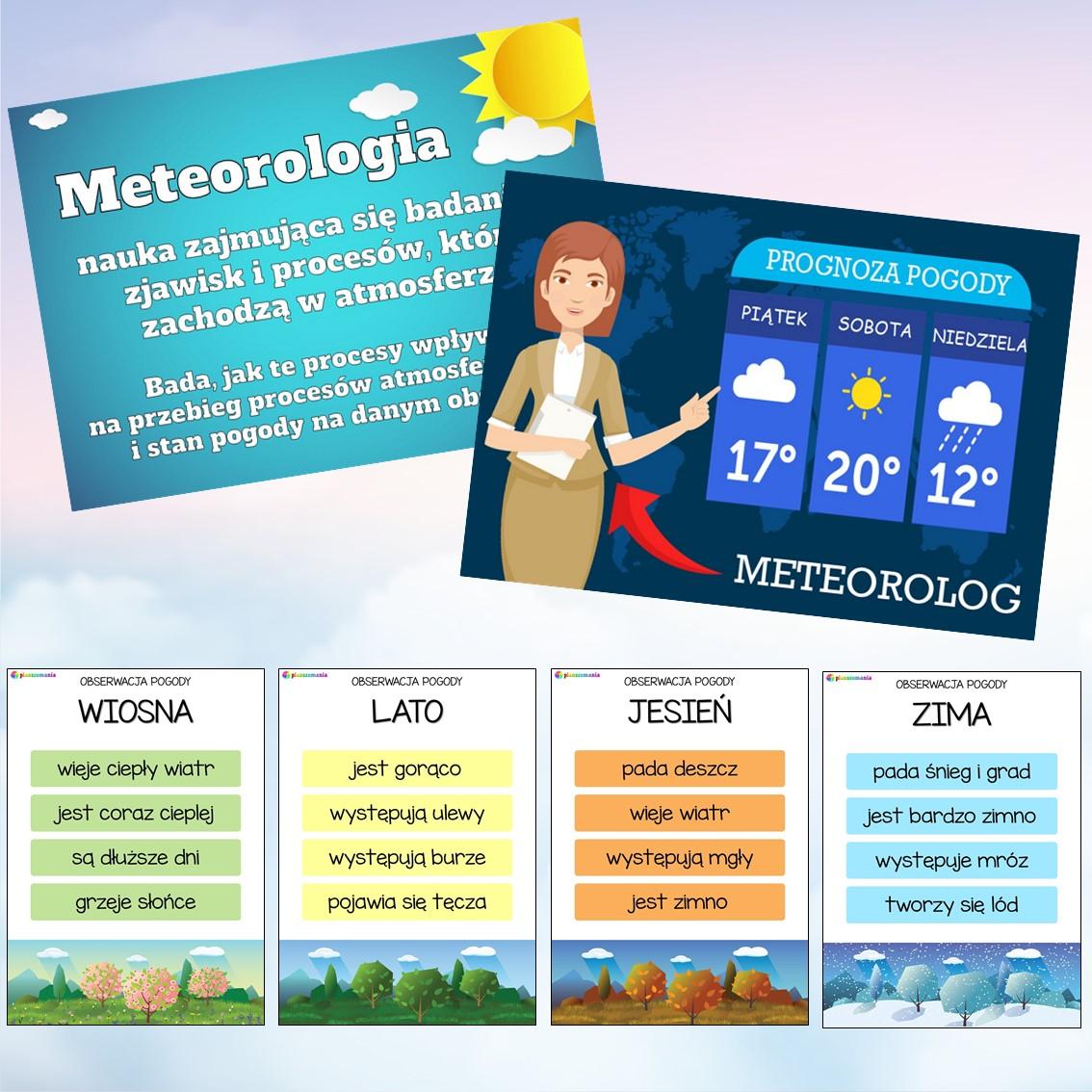 plansze edukacyjne planszomania materiały dydaktyczne dla dzieci edukacja wczesnoszkolna pogoda mega pakiet pdf do druku prognoza pogody