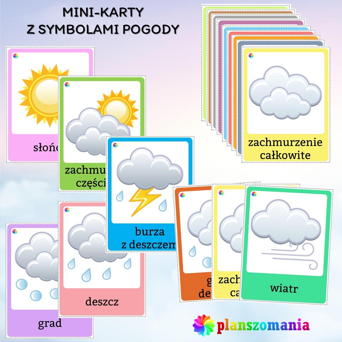plansze edukacyjne planszomania materiały dydaktyczne dla dzieci edukacja wczesnoszkolna pogoda mega pakiet pdf do druku symbole pogody