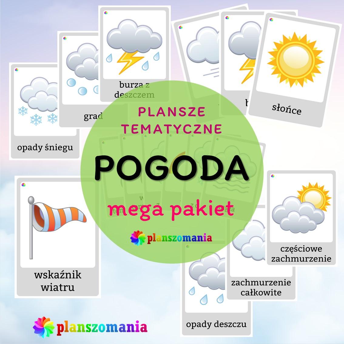 plansze edukacyjne planszomania materiały dydaktyczne dla dzieci edukacja wczesnoszkolna pogoda mega pakiet pdf do druku