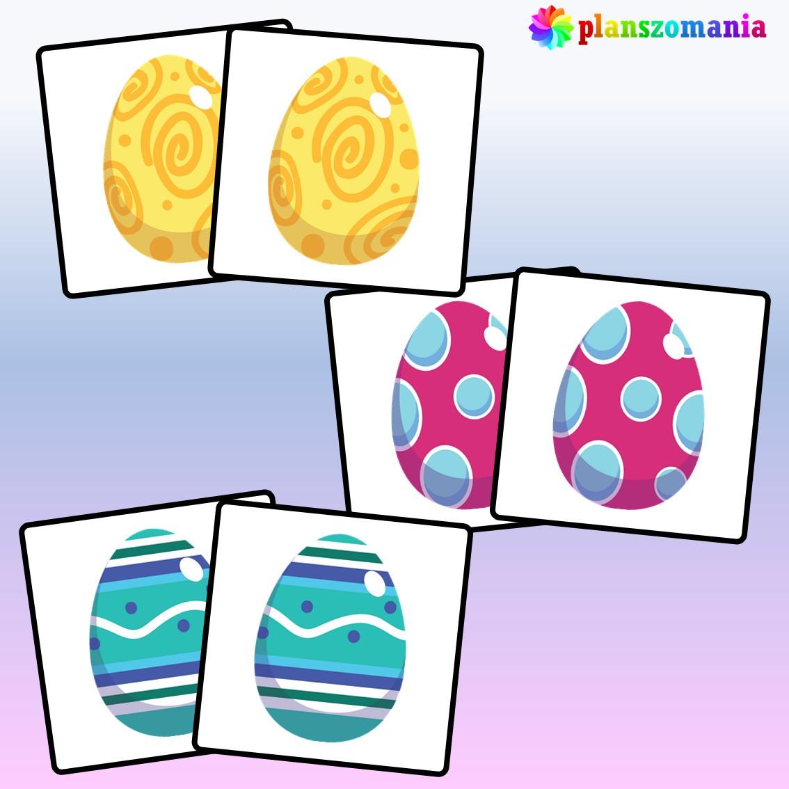 układanka edukacyjna ćwiczenie na pamięć planszomania edukacja dzieci pdf do druku trening pamięci memo wielkanoc memory