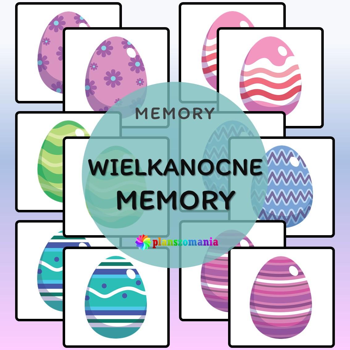 wielkanocne memory układanka edukacyjna ćwiczenie na pamięć planszomania edukacja dzieci pdf do druku trening pamięci memo