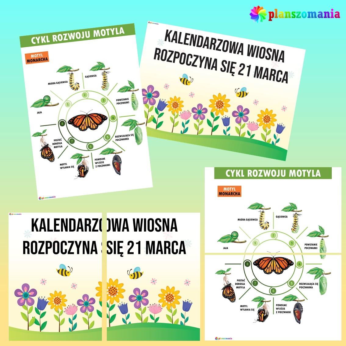 wiosna dużypakiet edukacyjny pdf do druku dla dzieci planszomania scenariusz zajęć edukacja wczesnoszkolna plakaty