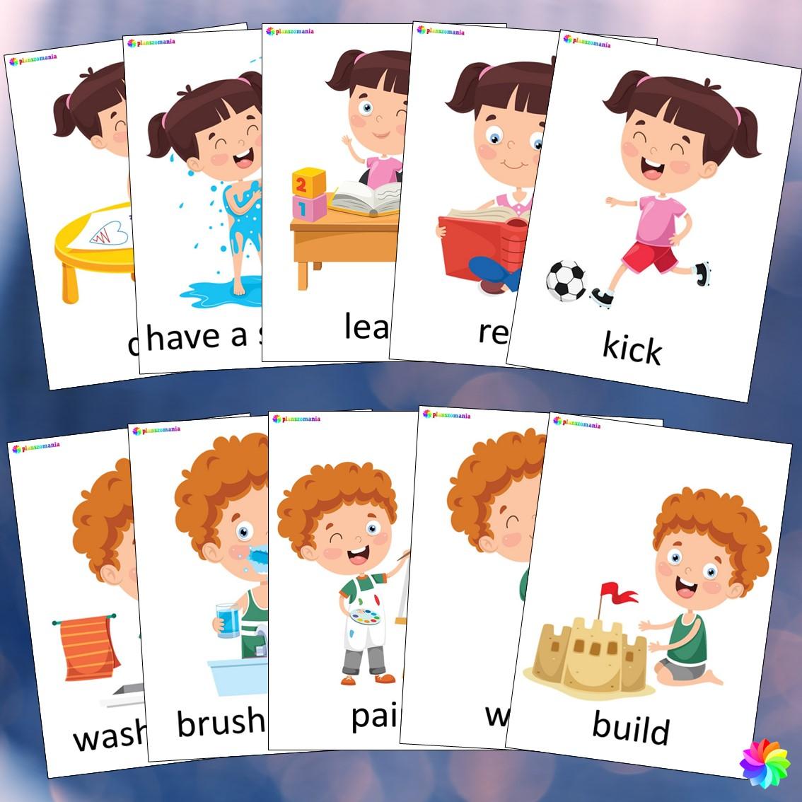 activities plansze ze słownictwem język angielski z języka angielskiego english flashcards kids pdf do druku