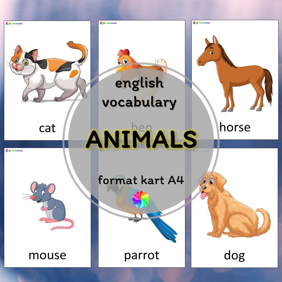 animals zwierzęta plansze ze słownictwem język angielski z języka angielskiego english flashcards kids pdf do druku
