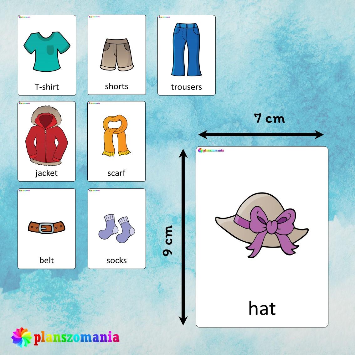 flashcards język angielski english version fiszki do nauki słówek pdf do druku clothes planszomania