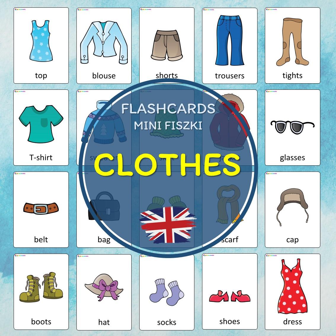 flashcards język angielski english version fiszki do nauki słówek pdf do druku clothes