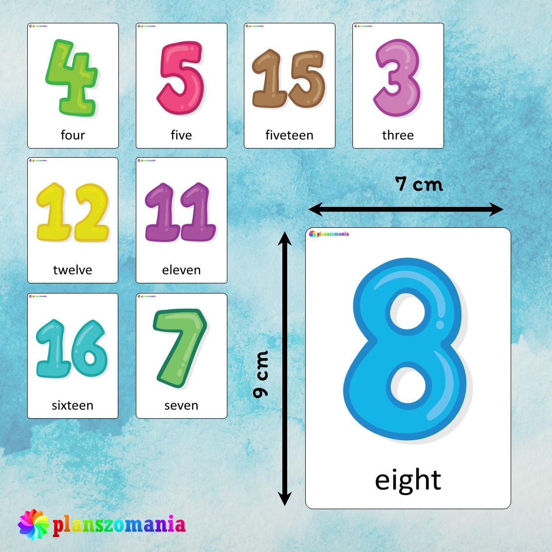 flashcards język angielski english version fiszki do nauki słówek pdf do druku numbers