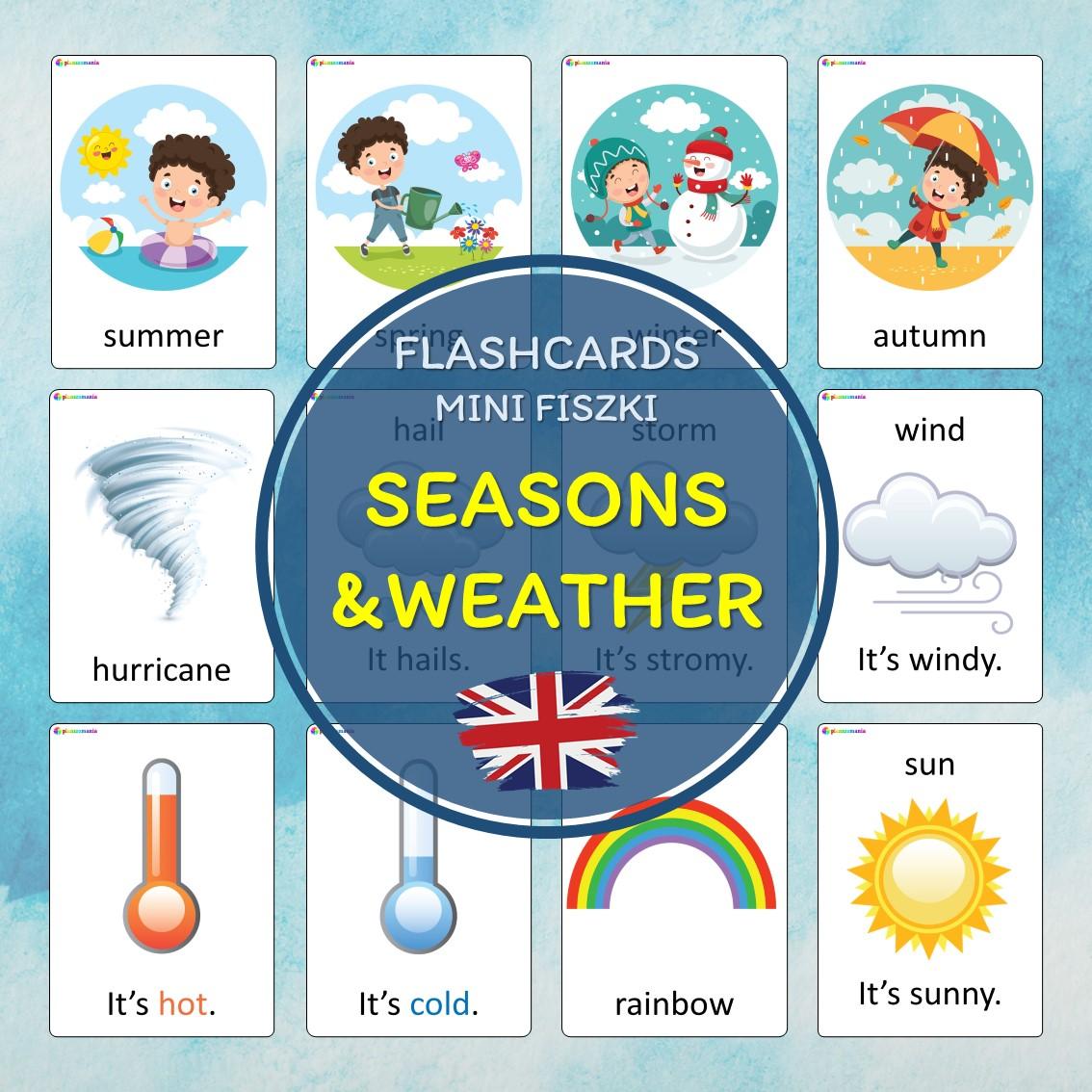 flashcards język angielski english version fiszki do nauki słówek pdf do druku seasons weather