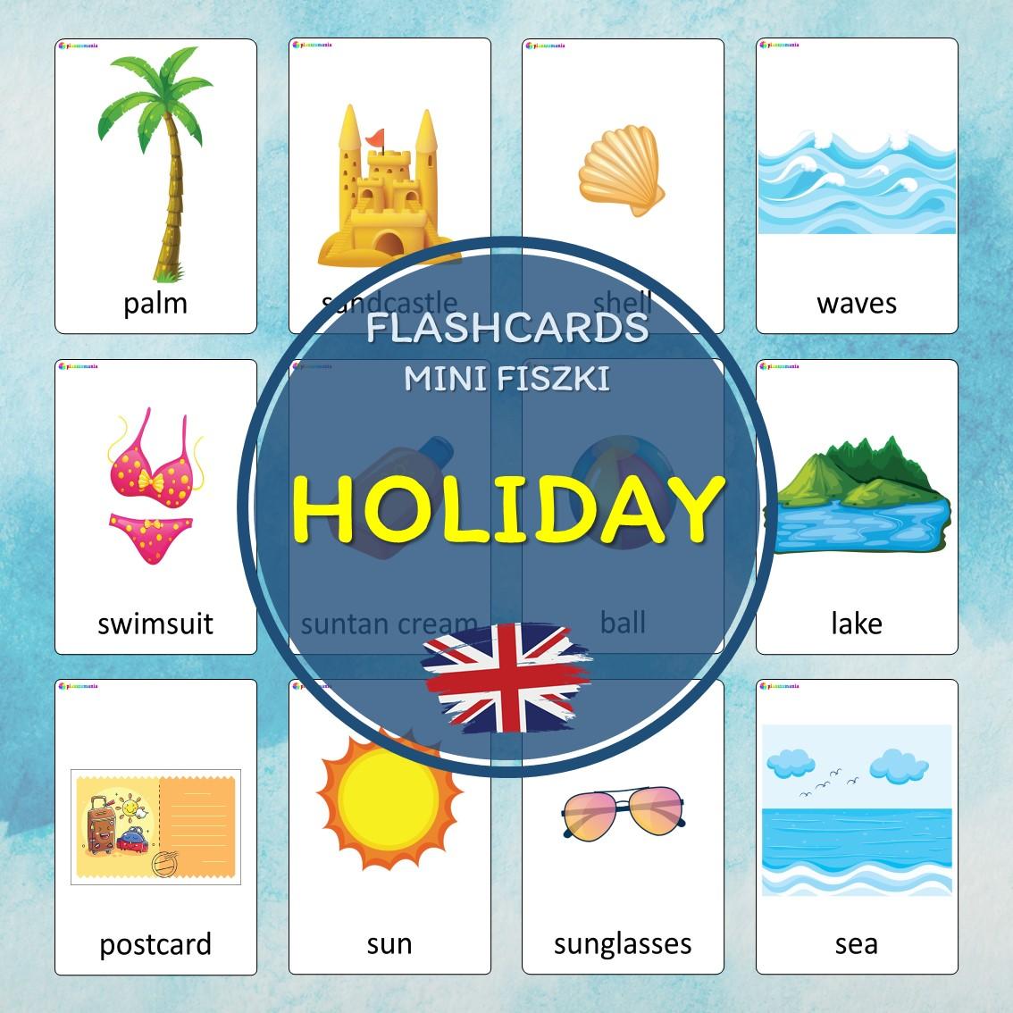 holiday flashcards język angielski english version fiszki do nauki słówek pdf do druku