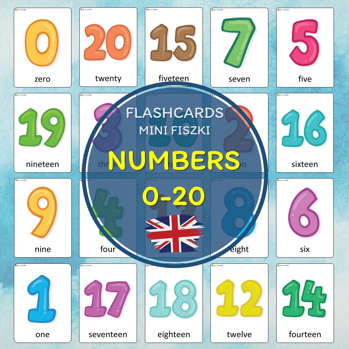 numbers flashcards język angielski english version fiszki do nauki słówek pdf do druku