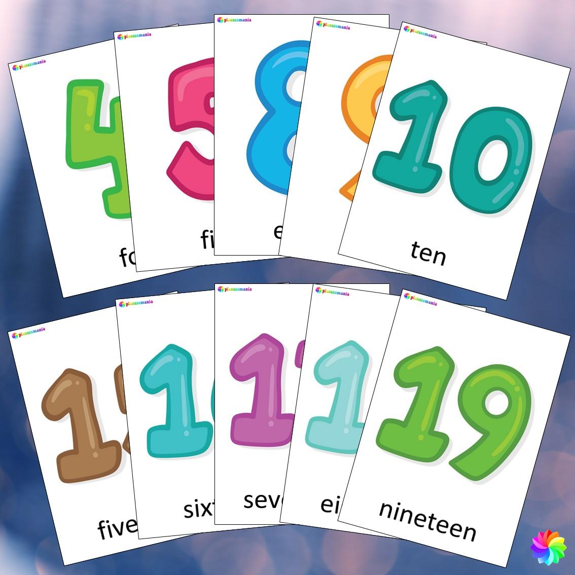 numbers liczby 0-20 materiały język angielski pdf do druku plansze A4 planszomania
