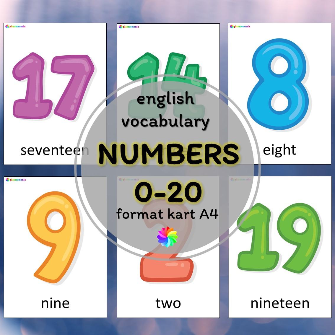 numbers liczby 0-20 materiały język angielski pdf do druku plansze A4