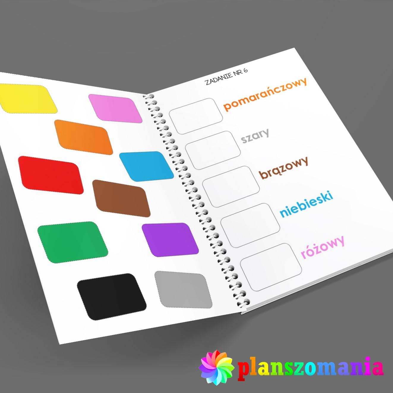 poznaję kolory nauka kolorów dla dzieci do druku pdf za darmo planszomania pomoce dydaktyczne