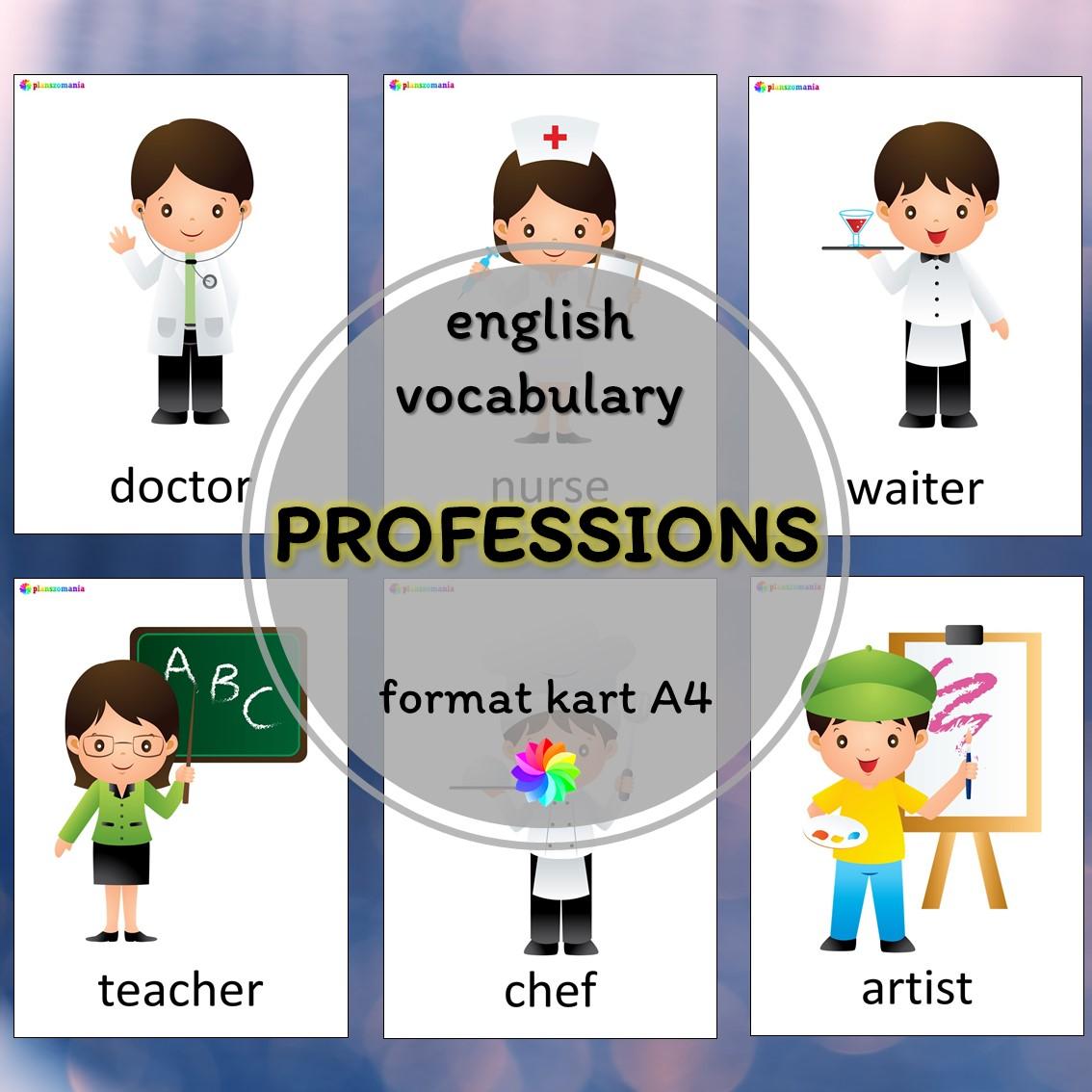 professions materiały język angielski pdf do druku plansze A4