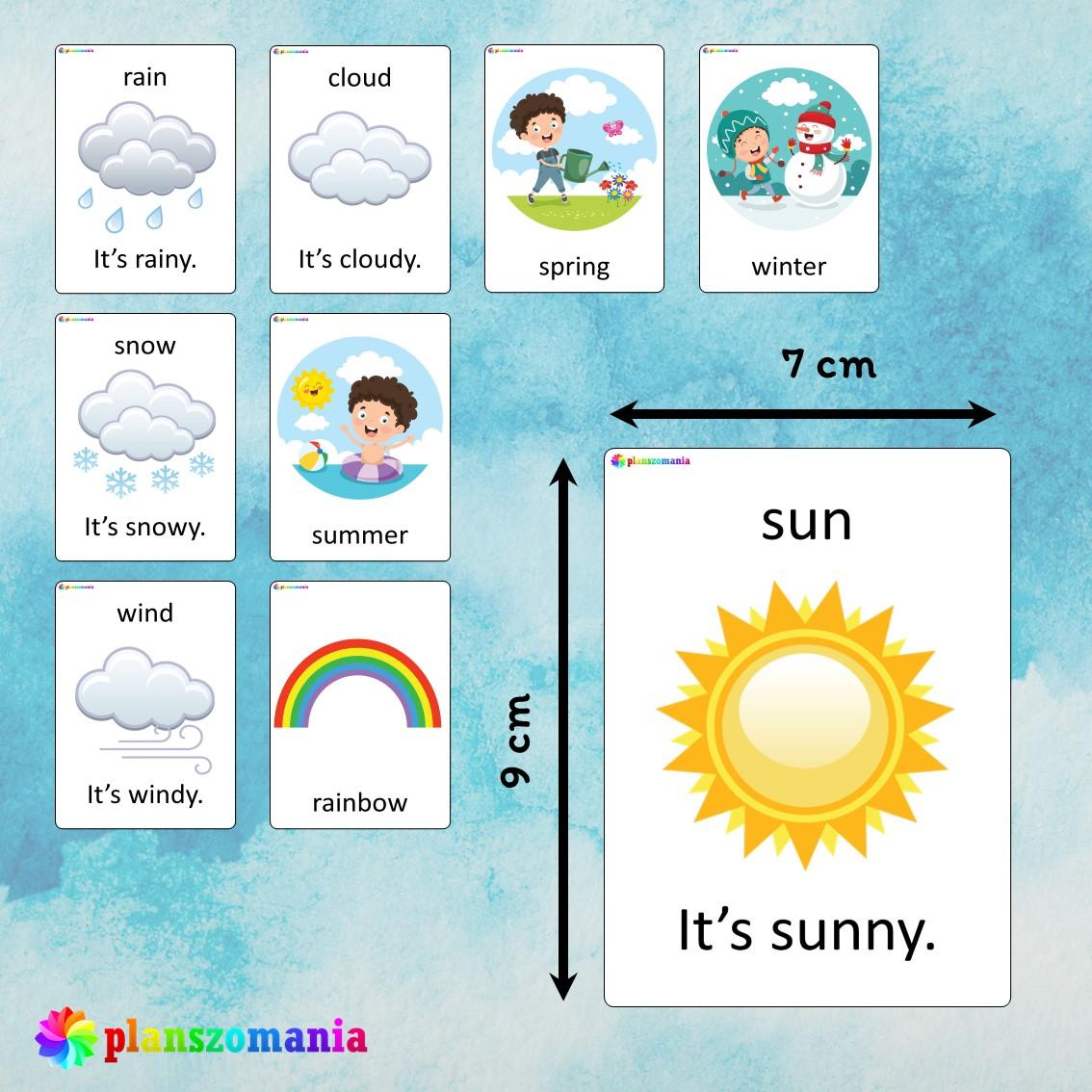 seasons weather flashcards język angielski english version fiszki do nauki słówek pdf do druku