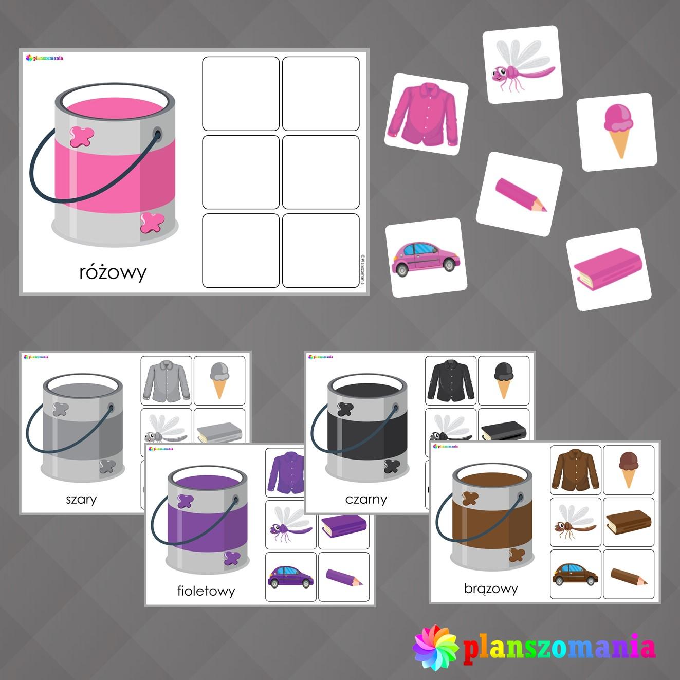 układanka nauka kolorów pdf do druku planszomania pomoce edukacyjne terapeutyczne rozwojowe