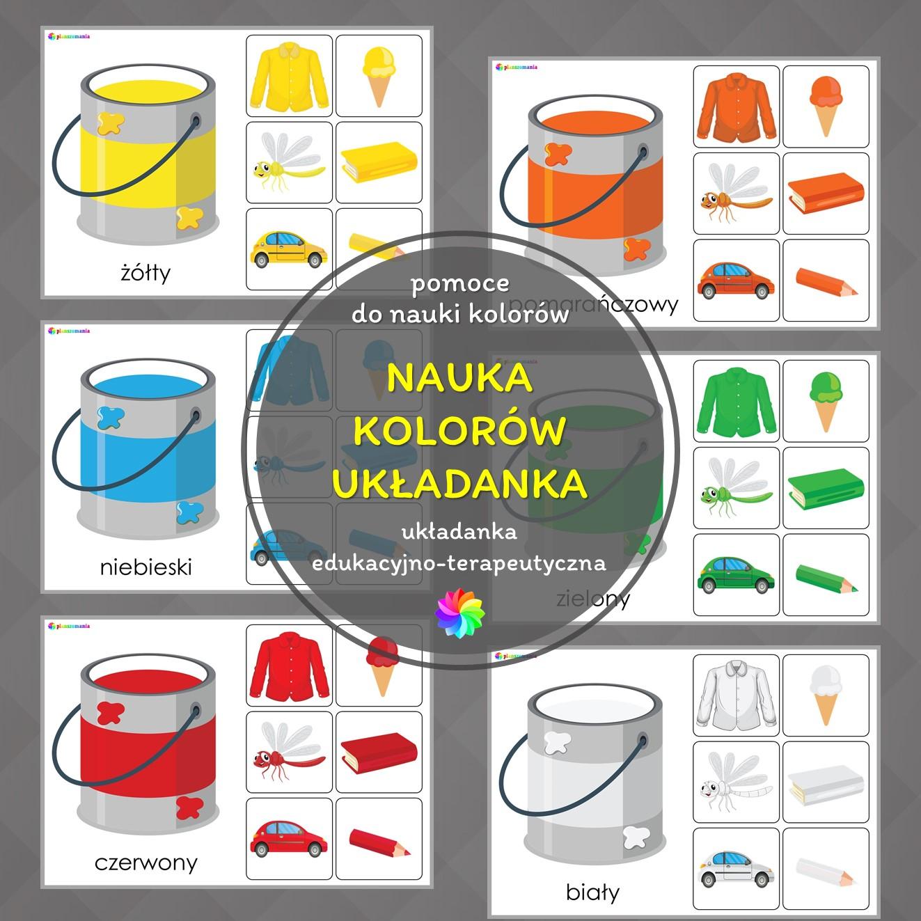 układanka nauka kolorów pdf do druku planszomania pomoce edukacyjne