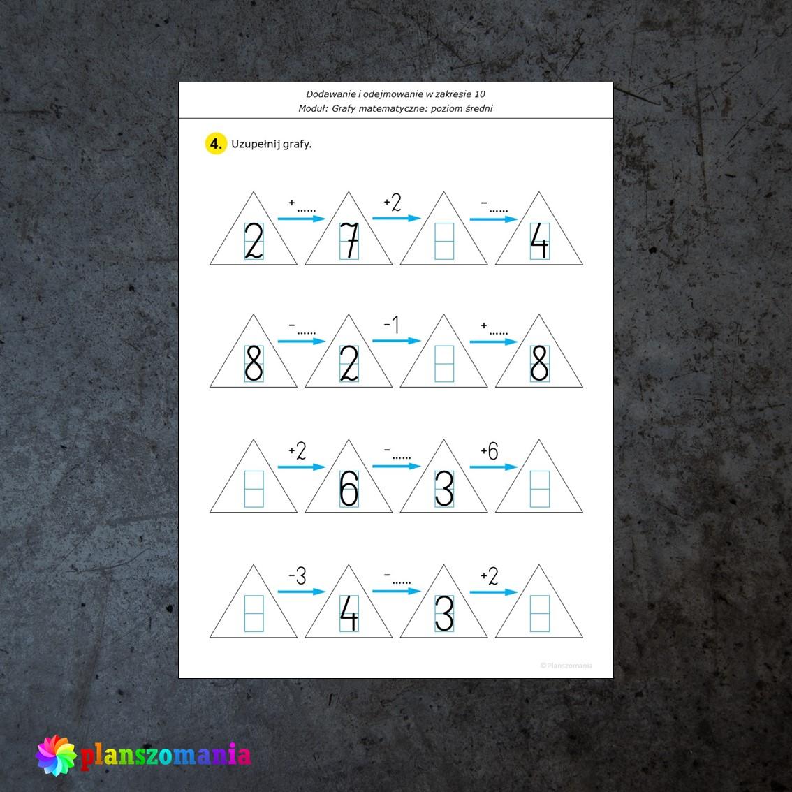 grafy matematyczne dodawanie i odejmowanie karty pracy edukacja matematyczna pomoce edukacyjne szkoła podstawowa pdf do druku planszomania