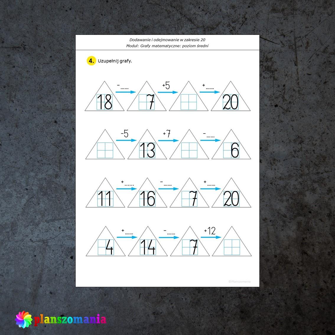 grafy matematyczne dodawanie i odejmowanie karty pracy edukacja matematyczna pomoce edukacyjne szkoła podstawowa pdf do druku w zakresie 20 planszomania