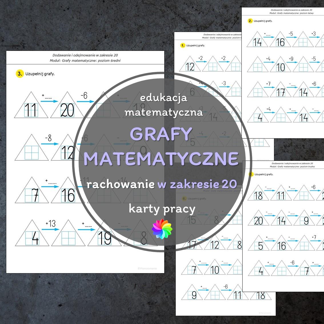 grafy matematyczne dodawanie i odejmowanie karty pracy edukacja matematyczna pomoce edukacyjne szkoła podstawowa pdf do druku w zakresie 20